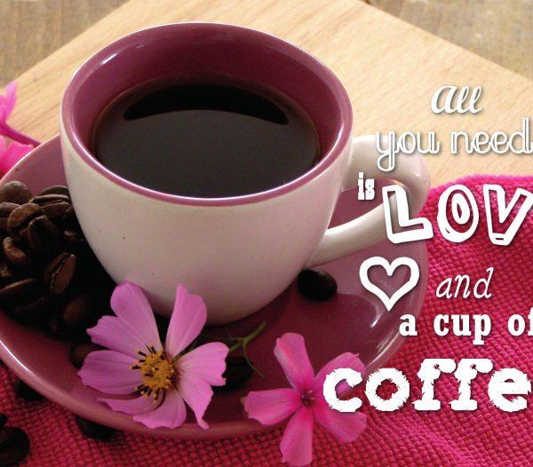 pocztówka - kawa i kwiaty