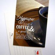 pocztówka - kawa i książka