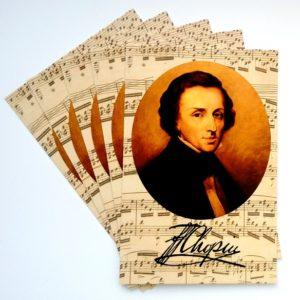 Pocztówka Chopin nuty Postcrossing