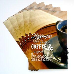 pocztówki, kawa, książka, książki, Postcrossing